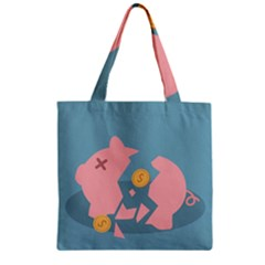 Coins Pink Coins Piggy Bank Dollars Money Tubes Zipper Grocery Tote Bag by Mariart