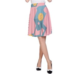 Coins Pink Coins Piggy Bank Dollars Money Tubes A Line Skirt by Mariart