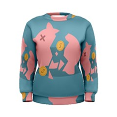 Coins Pink Coins Piggy Bank Dollars Money Tubes Women s Sweatshirt by Mariart