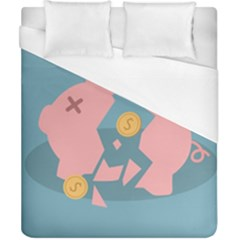 Coins Pink Coins Piggy Bank Dollars Money Tubes Duvet Cover (california King Size) by Mariart