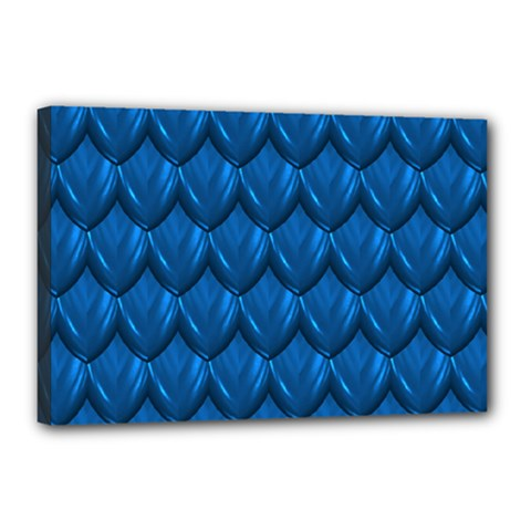 Blue Dragon Snakeskin Skin Snake Wave Chefron Canvas 18  X 12  by Mariart