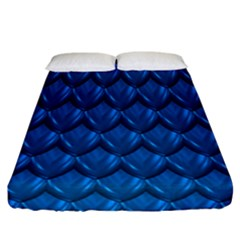 Blue Dragon Snakeskin Skin Snake Wave Chefron Fitted Sheet (california King Size) by Mariart