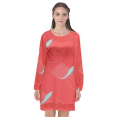 Chairs Wicker Cafe Party Comfortable Red Blue Long Sleeve Chiffon Shift Dress