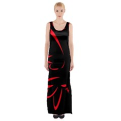 Dove Red Black Fly Animals Bird Maxi Thigh Split Dress