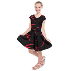 Dove Red Black Fly Animals Bird Kids  Short Sleeve Dress by Mariart