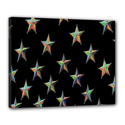 Colorful Gold Star Christmas Canvas 20  X 16