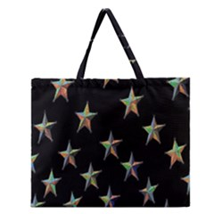Colorful Gold Star Christmas Zipper Large Tote Bag by Mariart
