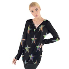 Colorful Gold Star Christmas Women s Tie Up Tee by Mariart