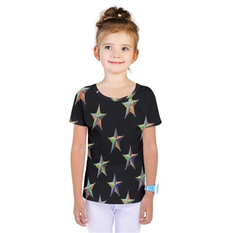 Colorful Gold Star Christmas Kids  One Piece Tee by Mariart