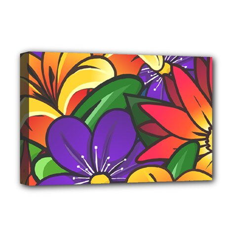 Bright Flowers Floral Sunflower Purple Orange Greeb Red Star Deluxe Canvas 18  X 12   by Mariart