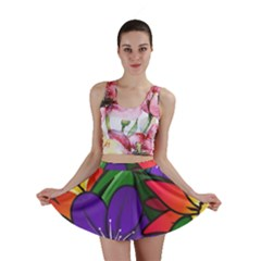 Bright Flowers Floral Sunflower Purple Orange Greeb Red Star Mini Skirt by Mariart