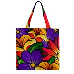 Bright Flowers Floral Sunflower Purple Orange Greeb Red Star Zipper Grocery Tote Bag by Mariart