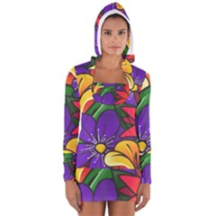 Bright Flowers Floral Sunflower Purple Orange Greeb Red Star Women s Long Sleeve Hooded T Shirt by Mariart