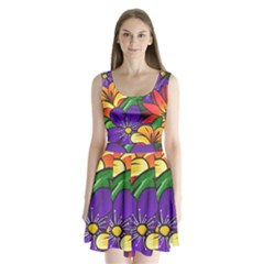 Bright Flowers Floral Sunflower Purple Orange Greeb Red Star Split Back Mini Dress