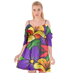 Bright Flowers Floral Sunflower Purple Orange Greeb Red Star Cutout Spaghetti Strap Chiffon Dress by Mariart