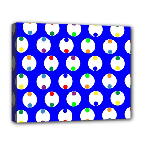 Easter Egg Fabric Circle Blue White Red Yellow Rainbow Deluxe Canvas 20  X 16   by Mariart