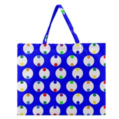 Easter Egg Fabric Circle Blue White Red Yellow Rainbow Zipper Large Tote Bag by Mariart