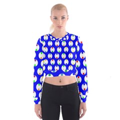 Easter Egg Fabric Circle Blue White Red Yellow Rainbow Cropped Sweatshirt by Mariart