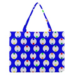 Easter Egg Fabric Circle Blue White Red Yellow Rainbow Medium Zipper Tote Bag by Mariart