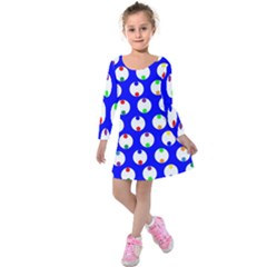 Easter Egg Fabric Circle Blue White Red Yellow Rainbow Kids  Long Sleeve Velvet Dress by Mariart