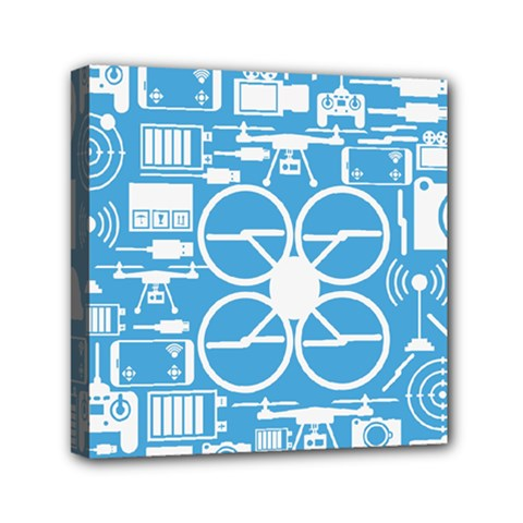 Drones Registration Equipment Game Circle Blue White Focus Mini Canvas 6  X 6  by Mariart