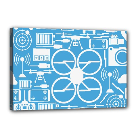 Drones Registration Equipment Game Circle Blue White Focus Canvas 18  X 12  by Mariart