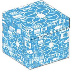Drones Registration Equipment Game Circle Blue White Focus Storage Stool 12   by Mariart