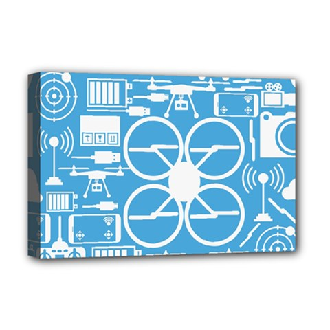 Drones Registration Equipment Game Circle Blue White Focus Deluxe Canvas 18  X 12   by Mariart