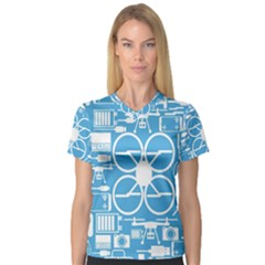Drones Registration Equipment Game Circle Blue White Focus Women s V Neck Sport Mesh Tee by Mariart