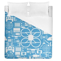 Drones Registration Equipment Game Circle Blue White Focus Duvet Cover (queen Size) by Mariart