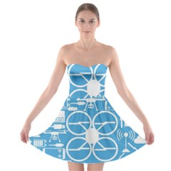 Drones Registration Equipment Game Circle Blue White Focus Strapless Bra Top Dress