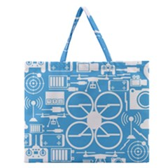 Drones Registration Equipment Game Circle Blue White Focus Zipper Large Tote Bag by Mariart