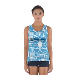 Drones Registration Equipment Game Circle Blue White Focus Women s Sport Tank Top