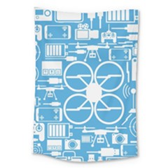 Drones Registration Equipment Game Circle Blue White Focus Large Tapestry by Mariart