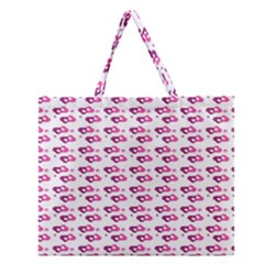 Heart Love Pink Purple Zipper Large Tote Bag by Mariart