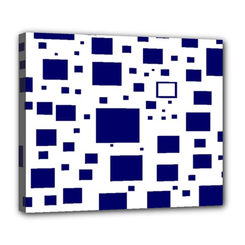 Illustrated Blue Squares Deluxe Canvas 24  X 20   by Mariart