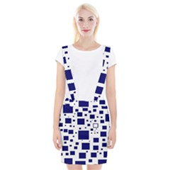 Illustrated Blue Squares Braces Suspender Skirt by Mariart
