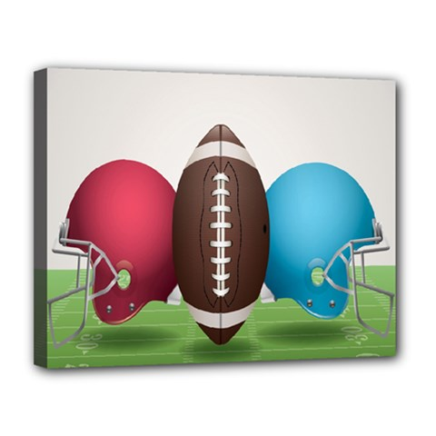 Helmet Ball Football America Sport Red Brown Blue Green Canvas 14  X 11  by Mariart