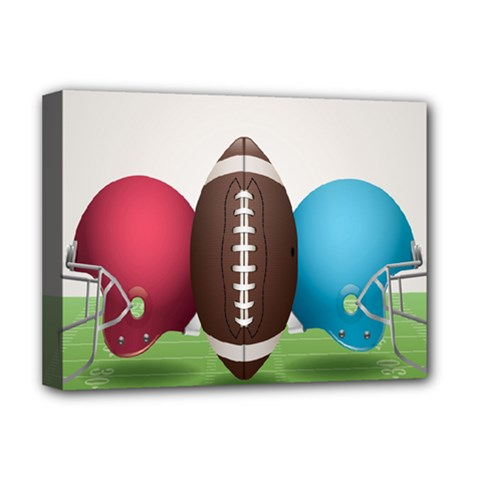 Helmet Ball Football America Sport Red Brown Blue Green Deluxe Canvas 16  X 12   by Mariart