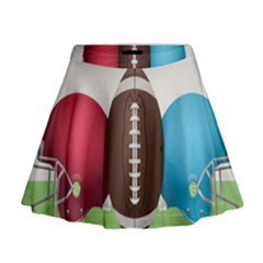 Helmet Ball Football America Sport Red Brown Blue Green Mini Flare Skirt by Mariart