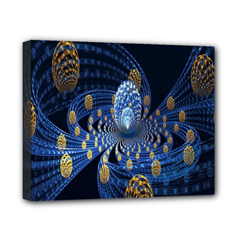 Fractal Balls Flying Ultra Space Circle Round Line Light Blue Sky Gold Canvas 10  X 8  by Mariart