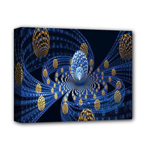 Fractal Balls Flying Ultra Space Circle Round Line Light Blue Sky Gold Deluxe Canvas 14  X 11  by Mariart