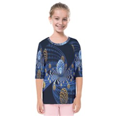 Fractal Balls Flying Ultra Space Circle Round Line Light Blue Sky Gold Kids  Quarter Sleeve Raglan Tee