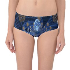 Fractal Balls Flying Ultra Space Circle Round Line Light Blue Sky Gold Mid Waist Bikini Bottoms by Mariart
