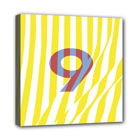 Number 9 Line Vertical Yellow Red Blue White Wae Chevron Mini Canvas 8  X 8  by Mariart