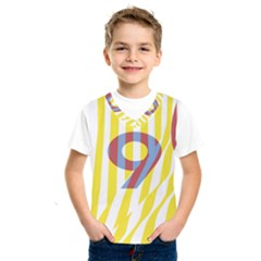 Number 9 Line Vertical Yellow Red Blue White Wae Chevron Kids  Sportswear by Mariart