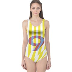 Number 9 Line Vertical Yellow Red Blue White Wae Chevron One Piece Swimsuit by Mariart