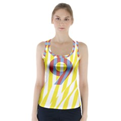 Number 9 Line Vertical Yellow Red Blue White Wae Chevron Racer Back Sports Top