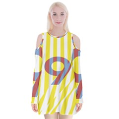 Number 9 Line Vertical Yellow Red Blue White Wae Chevron Velvet Long Sleeve Shoulder Cutout Dress by Mariart