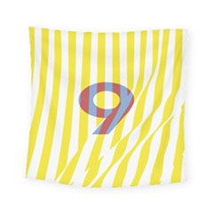 Number 9 Line Vertical Yellow Red Blue White Wae Chevron Square Tapestry (small)